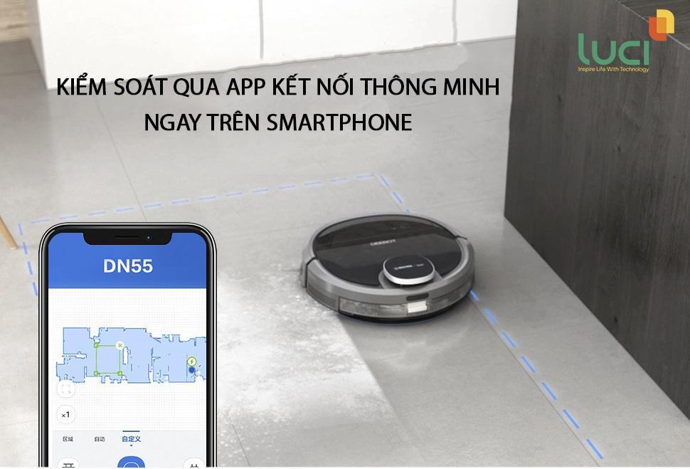 Bạn có thê dễ dàng điều khiển robot lau nhà thông minh chỉ với một chiếc smartphone